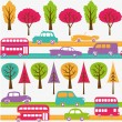 Roads with colorful cars — Stock Vector