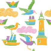 Lighthouse, ships and seagulls — Stock Vector