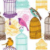 Colorful birds and various cages — Stock Vector