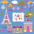 Stock Vector: Colorful parisibackground