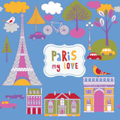 Colorful parisian background — Stock Vector