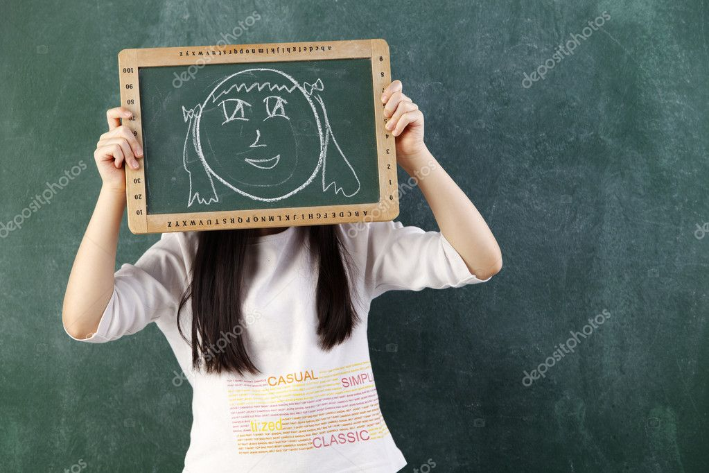 Girl holding black board with drawing  Stock Photo #8062144