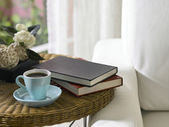 Tea cup and books — Stock Photo