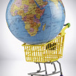 Globe in shopping cart — Stockfoto #9187692