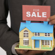 Real estate agent holding a sign of for sale and a model house — Stock Photo #9187864
