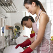 Young lady scrubbing plate — Stock Photo #9188800