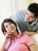 Woman being massage by boy friend — Stock Photo