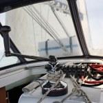 Italy, Sicily, Mediterranean Sea, cruising on a sailing boat, winch — Stock Photo #10194925