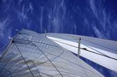 Italy, Sicily, Mediterranean sea, cruising on a sailing boat, sails — Stock Photo