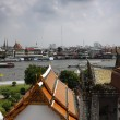 Thailand, Bangkok, view of the Chao Praya river and the skyline of the city seen from the Arun Temple - Lizenzfreies Foto