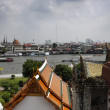 Thailand, Bangkok, view of the Chao Praya river and the skyline of the city seen from the Arun Temple -  