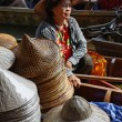 Stock Photo: Thailand, Bangkok, Floating Market, Thai hats for sale on boat