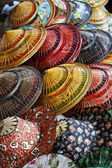 Thailand, Bangkok, Floating Market, Thai hats for sale on a boat — Stock Photo