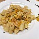 Italy, short pasta (maccheroni) with tuna fish eggs and oranges sauce — Stock Photo