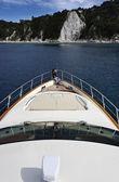 Italy, Tuscany, Elba Island, view of the coastline from a luxury yacht — Stock Photo