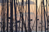 Italy, Sicily, sailing boat masts in a marina at sunset — Stock Photo