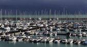 Italy, Siciliy, Mediterranean sea, view of luxury yachts — Stock Photo