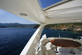 Italy, Elba Island, luxury yacht Azimut 75, flybridge — Stock Photo