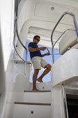 Italia, lusso yacht azimut 75, scala verso il flybridge — Foto Stock