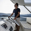 Stock Photo: Italy, Tuscany, Elba Island, luxury yacht Azimut 75, flybridge