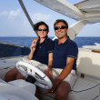 Italy, Tuscany, Elba Island, luxury yacht Azimut 75, couple — Stock Photo #8283212