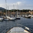 Italy, Elba Island, view of Porto Azzurro from a luxury yacht — Stock Photo