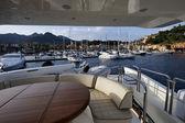 Italy, Elba Island, view of Porto Azzurro from a luxury yacht — Stock Photo