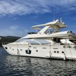 Italy, Elba Island, Porto Azzurro, luxury yacht Azimut 75 - Stock Photo