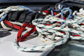 Italy, nautical ropes on a sailboat — Stockfoto