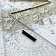 Italy, Elba Island nautical map and compass — Stock Photo