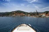 Italy, Elba island, view of Marina di Campo and the port — Stock Photo