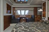 Italy, Elba Island, luxury yacht Azimut 75, master bedroom — Stock Photo
