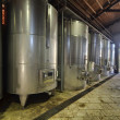 Italy, stainless steel wine containers in a wine factory — Stock Photo