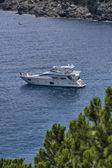Italy, Elba Island, a luxury yacht in a bay near Porto Azzurro — Stock Photo