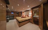 Italy, Tecnomar 35 Open luxury yacht, master bedroom — Stock Photo