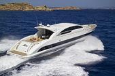 Italy, Sardinia, Tyrrhenian Sea, luxury yacht, aerial view — Stock Photo