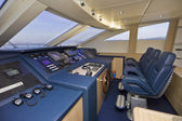 Italy, Sardinia, luxury yacht, dinette, driving consolle — Stock Photo
