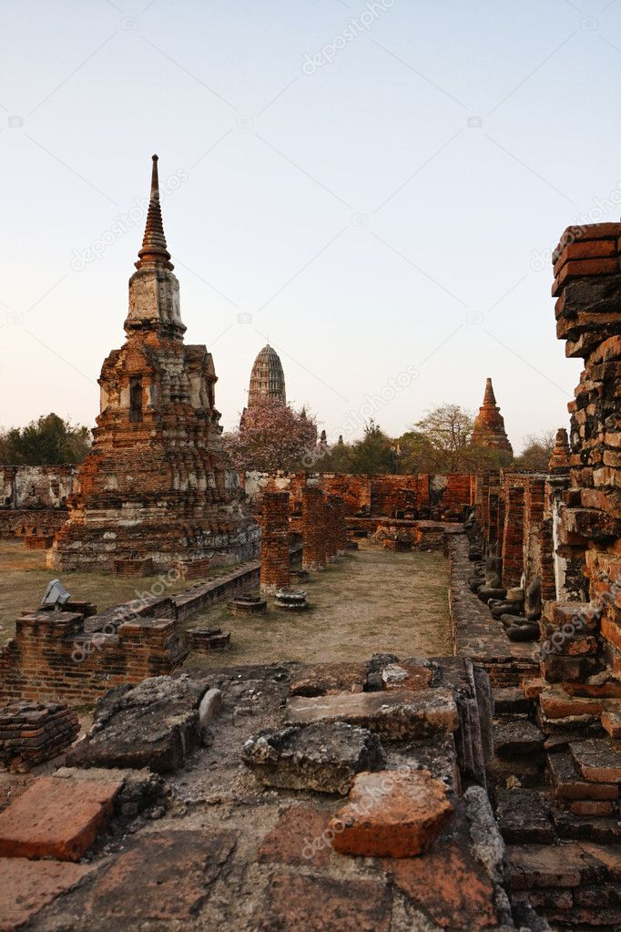 THAILAND, Ayutthaya, the ruins of the city's ancient temples at sunset  Stock Photo #8993155