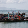 Thailand, Koh Phangan, local wooden fishing boats — Stok fotoğraf