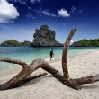 Thailand, MU KOH ANGTHONG National Marine Park, a local fisherman walking on the beach — Stock Photo