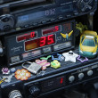Stock Photo: Thailand, Bangkok, tax meter with gadgets in local taxi cab