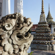 Thailand, Bangkok, Pranon Wat Pho, laying Buddha temple, stone dragon statue — Stock Photo