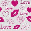 Hearts and lips on grunge background — 图库矢量图片