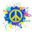 Peace symbol on blue grunge background - Stock Vector
