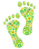 Green footprints — Stock Vector