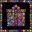 Colorful gift box on black background — Vettoriali Stock