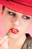 Portrait of sensuality stylish woman in red hat — Stock Photo