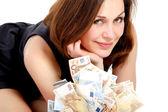 Mujer con mucho dinero — Foto de Stock