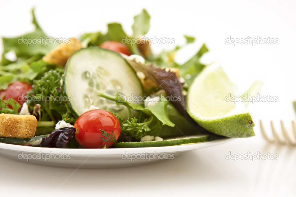 Fresh garden healthy salad on a white background — Stock Photo #9154449