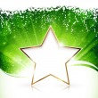 Golden Christmas star on green background — Stock Vector